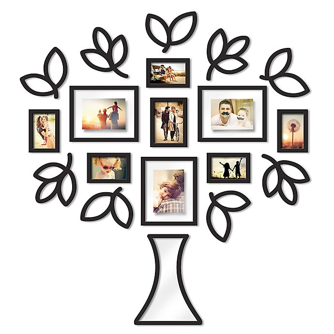 Wallverbs™ Open Leaf Tree 19-Piece Picture Frame Set in Black | Bed ...