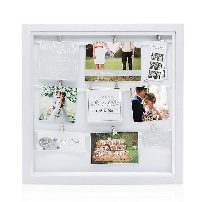 Pearhead® Mr. & Mrs. 9-Photo Clip Collage Frame in White | Bed Bath ...