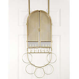 Over-the-Door Mirror & Jewelry Organizer in Champagne