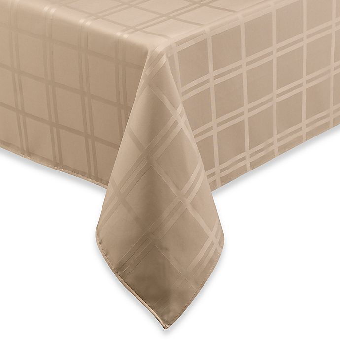 Alternate image 1 for Origins™ Microfiber 60-Inch x 140-Inch Tablecloth in Beige