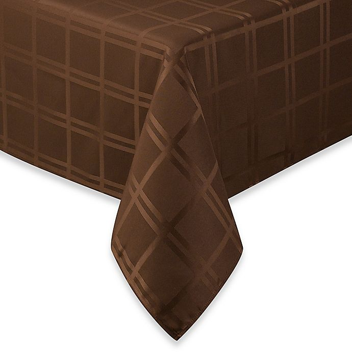 Alternate image 1 for Origins™ Microfiber 60-Inch x 102-Inch Oblong Tablecloth in Chocolate