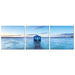 Elementem Photography 3-Panel Photography Print of Boathouse on the River