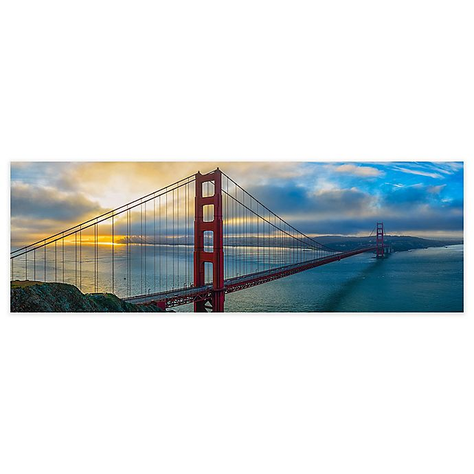 Alternate image 1 for Elementem Photography 20-Inch x 60-Inch Photographic Wall Art of Golden Gate at Sunset
