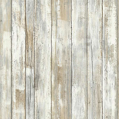 """Roommates """"Distressed Wood"""" Peel & Stick Wall Décor in Neutral"""
