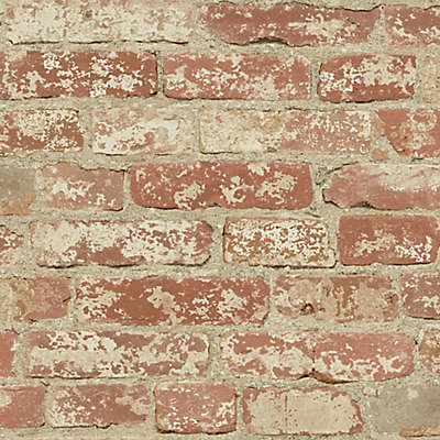 """Roommates """"Stuccoed Brick"""" Peel & Stick Wall Décor in Red"""