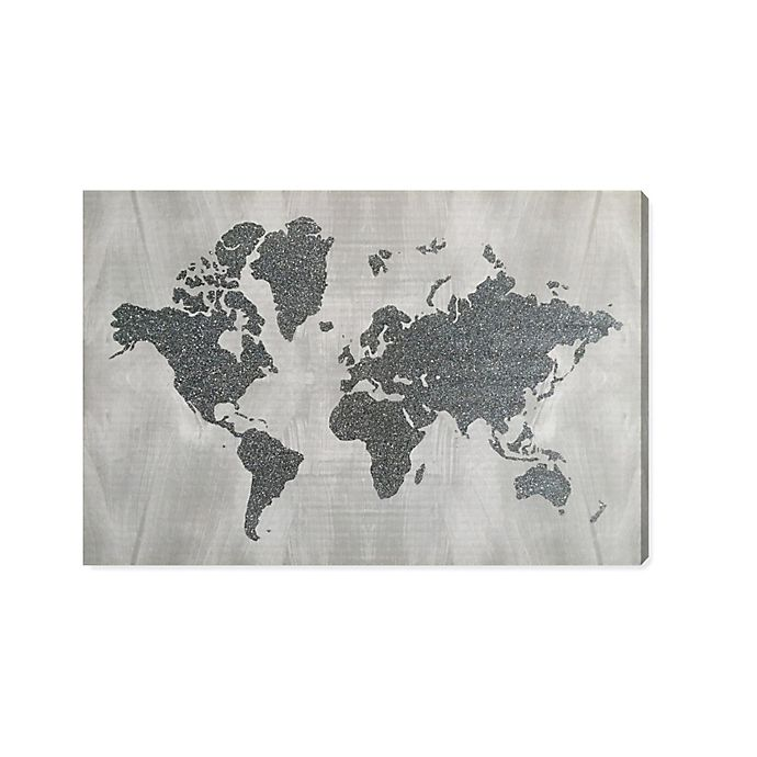 The World In Silver Silver Glitter Wall Art Bed Bath Beyond