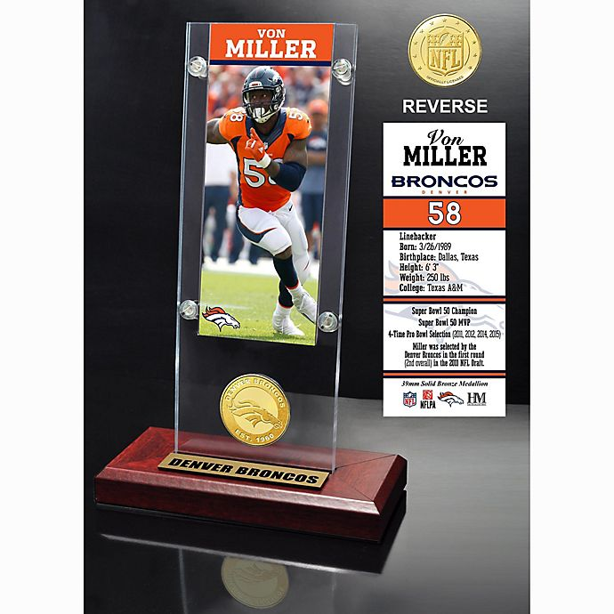 Alternate image 1 for NFL Denver Broncos Von Miller Ticket and Team Coin Desktop Display