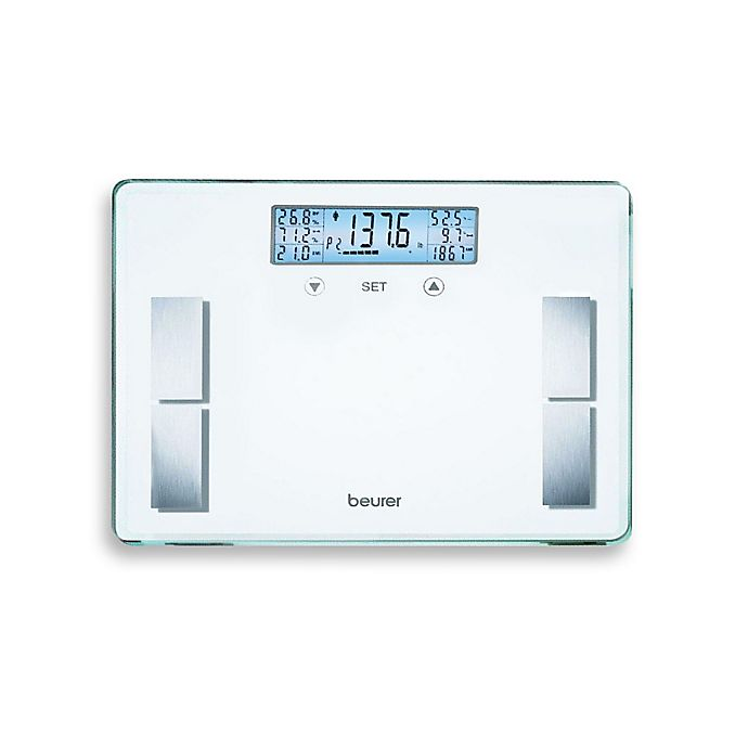 Beurer Glass Body Analysis Bathroom Scale In White Bed