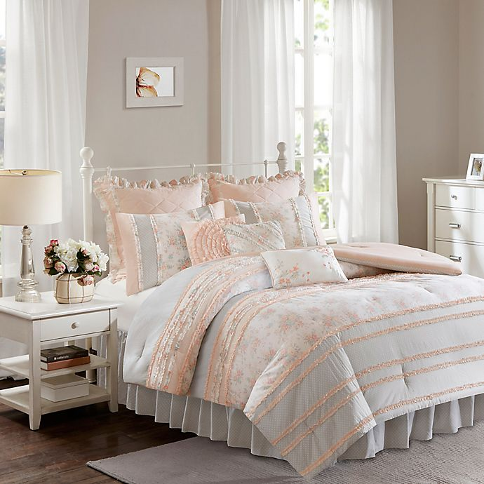 Alternate image 1 for Madison Park Serendipity 9-Piece Cotton Percale Queen Duvet Cover Set in Coral