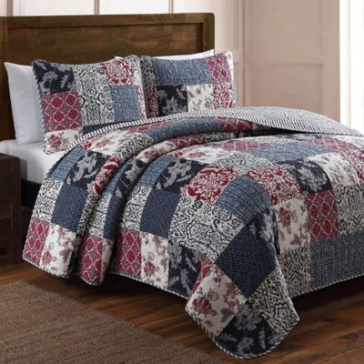 Elizabeth Patchwork Quilt Set In Blue Red Bed Bath Amp Beyond