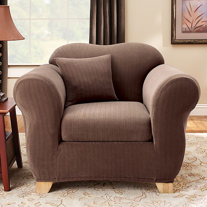 Sure Fit® Stretch Pinstripe 2-Piece Chair Slipcover | Bed ...