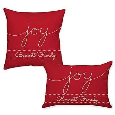 """Joy"" Poplin Throw Pillow in Red"