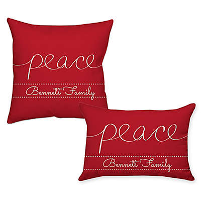 """""""Peace"""" Poplin Throw Pillow in Red"""