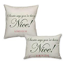 Santa Says Poplin Throw Pillow in Off White