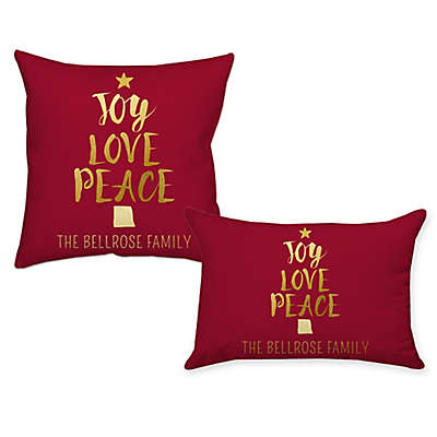 """""""Joy Love Peace"""" Throw Pillow in Red"""
