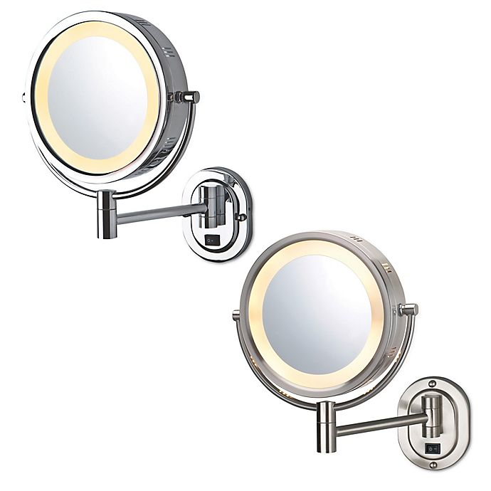 Alternate image 1 for Jerdon® 8-Inch Round Lighted Wall Mount Mirror