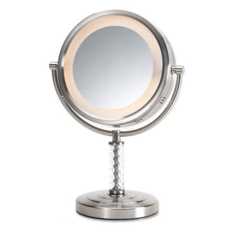 Buy Jerdon 1x 6x Led Swivel Tabletop Vanity Mirror In Nickel From Bed Bath Beyond