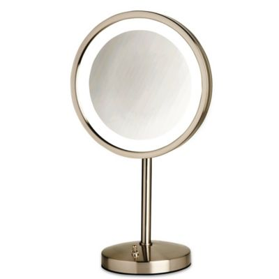 Jerdon 174 Tabletop Led Lighted Vanity Mirror In Nickel Bed