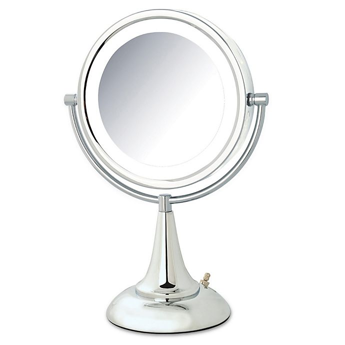 Alternate image 1 for Jerdon® 1x/8x LED Tabletop Vanity Mirror in Chrome