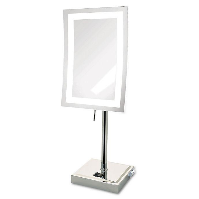 Alternate image 1 for Jerdon® 5x LED Tabletop Mirror in Chrome