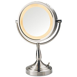 Jerdon® 7x/1x Halo Lighted Tabletop Mirror in Nickel