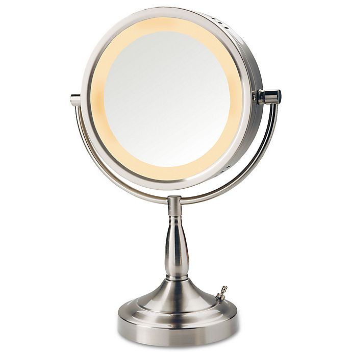 Jerdon 7x1x Halo Lighted Tabletop Mirror In Nickel Bed Bath Beyond