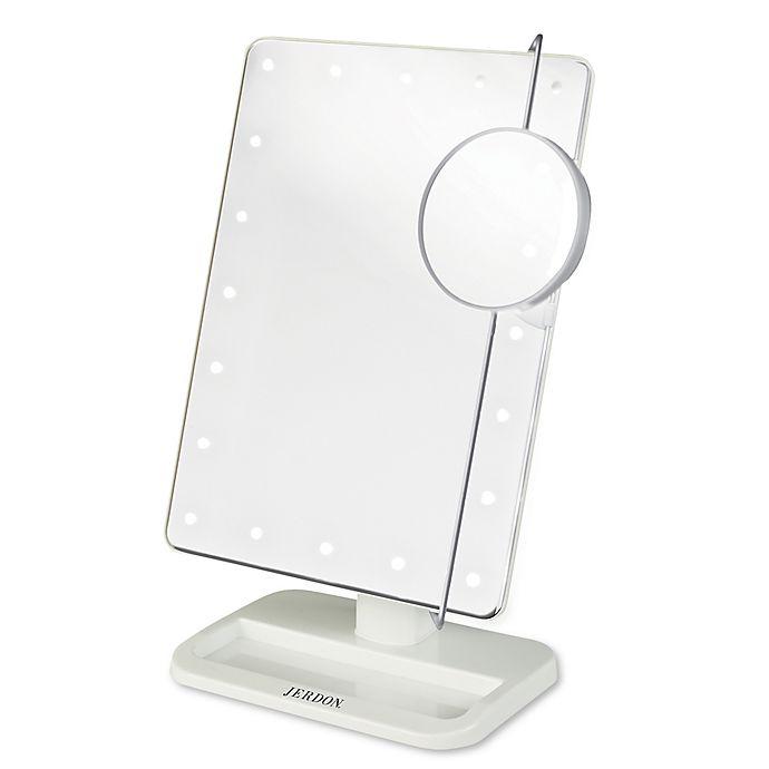 Alternate image 1 for Jerdon® 1x/10x Portable LED Tabletop Mirror in White