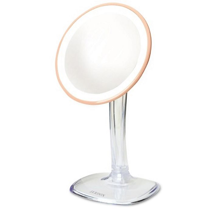 Alternate image 1 for Jerdon® LED Adjustable Makeup Mirror in Rose Gold