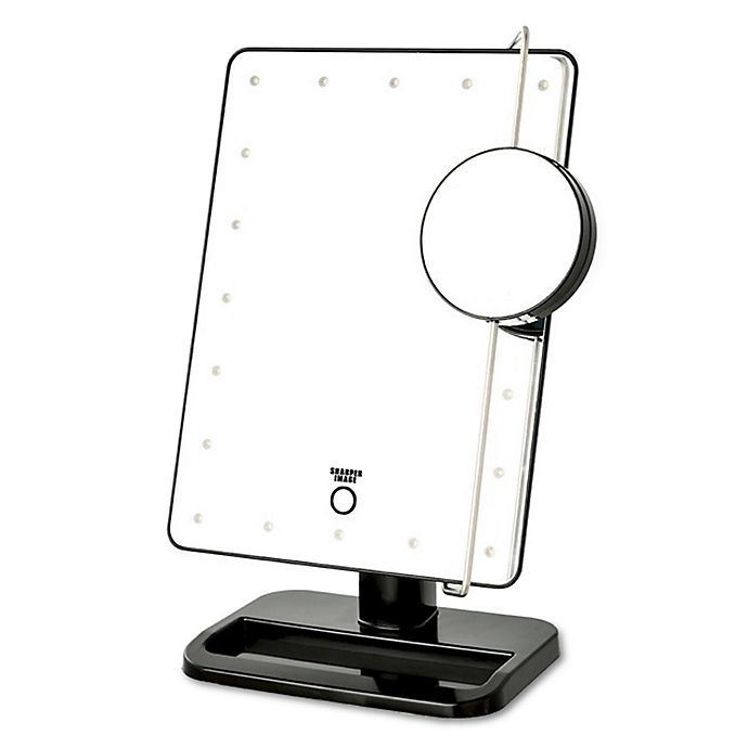Alternate image 1 for Jerdon LED Touch Mirror with Vanity Tray in Black