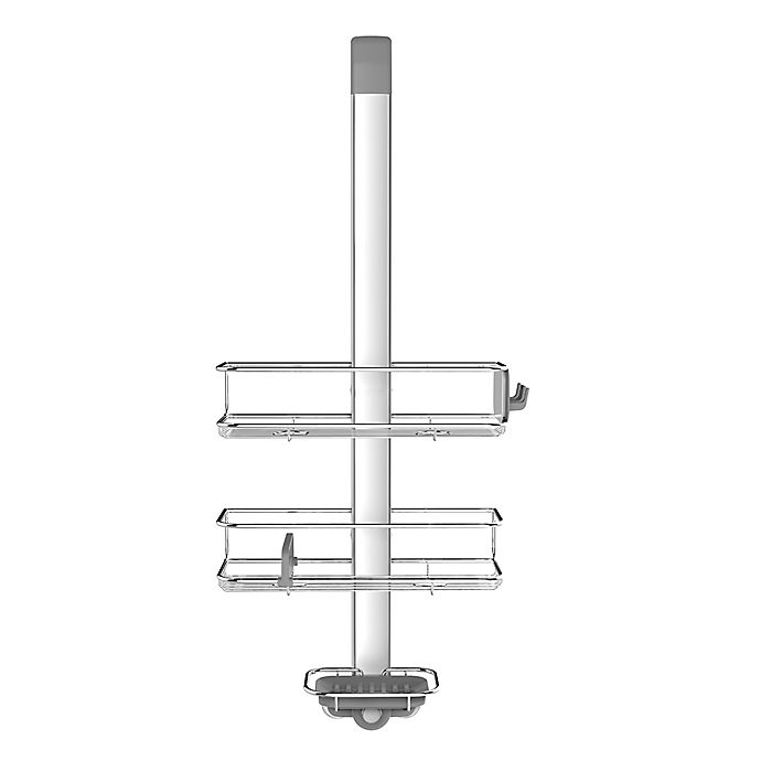 Alternate image 1 for simplehuman® Over-the-Door Shower Caddy in Stainless Steel