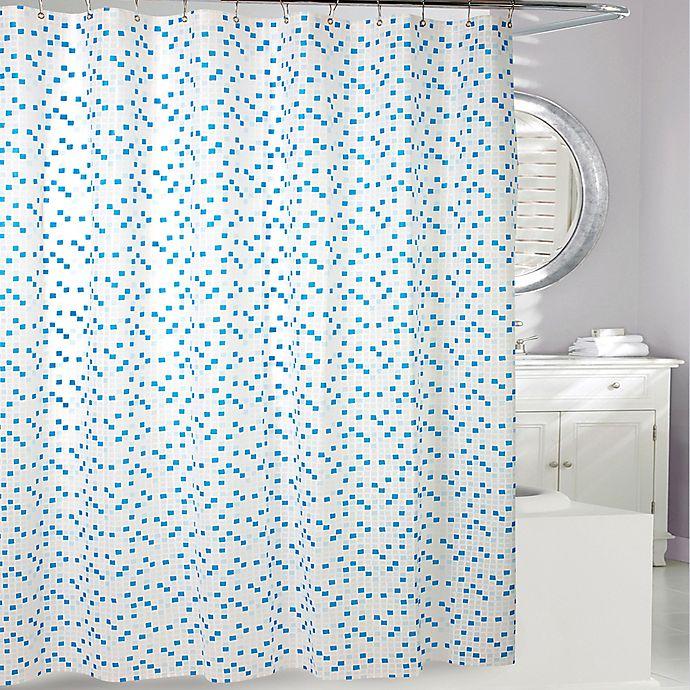 Alternate image 1 for Cube PEVA Shower Curtain in Blue/White