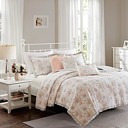 Madison Park Serendipity Cotton Percale Quilted Coverlet Set in Coral