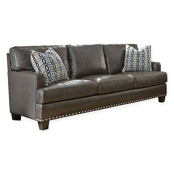 Surprising Steve Silver Co Patrese Leather Sofa In Grey Bed Bath Theyellowbook Wood Chair Design Ideas Theyellowbookinfo