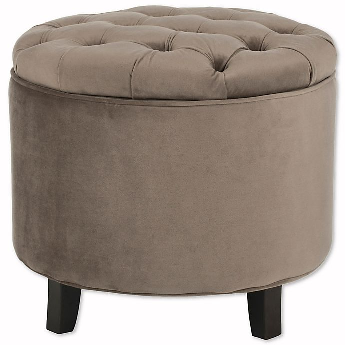 Alternate image 1 for Safavieh Amelia Round Storage Ottoman in Taupe