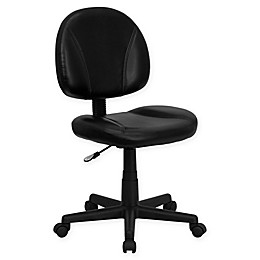 Flash Furniture Mid-Back Ergonomic Swivel Task Chair in Black Leather