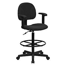 Flash Furniture Ergonomic Drafting Seat in Black
