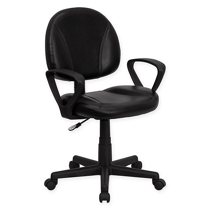 Alternate image 1 for Flash Furniture Leather Mid-Back Ergonomic Task Chair in Black