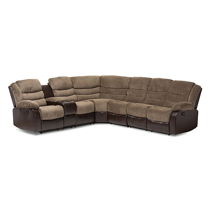 Alternate image 1 for Baxton Studio Robinson 7-Piece Sectional Sofa in Brown/Taupe