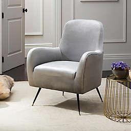 Safavieh Noelle Velvet Retro Mid-Century Accent Chair in Light Grey