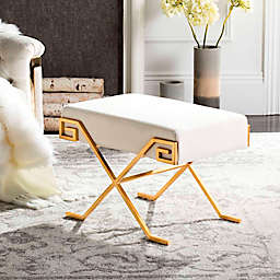 Safavieh Luna Greek Key Bench in Beige