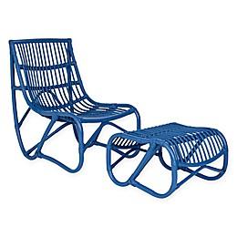 Safavieh Shenandoah Chair and Ottoman Set in Blue