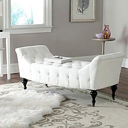 Safavieh Georgette Velvet Slipper Bench in White