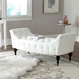 Safavieh Georgette Velvet Slipper Bench in White