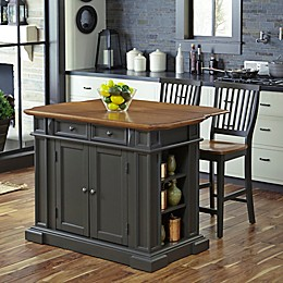 Home Styles Americana 3-Piece Kitchen Island with Stools in Grey