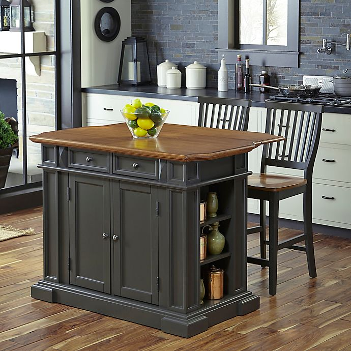 Home Styles Americana 3-Piece Kitchen Island with Stools in ...