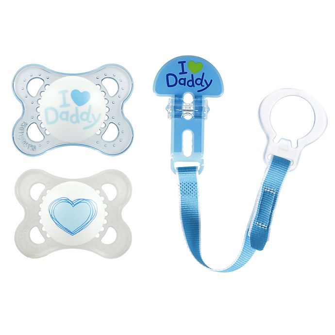 Alternate image 1 for MAM Love & Affection Age 0-6 Months I Love Daddy Pacifiers and Clip Set in Blue