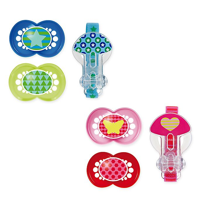 Alternate image 1 for MAM Trends Age 6M+ Pacifiers and Clip Set