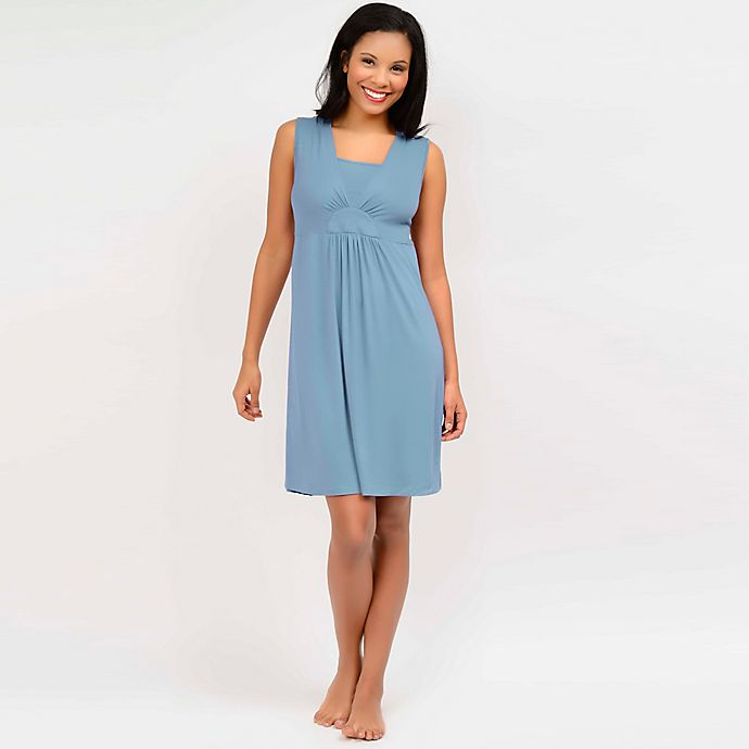 Alternate image 1 for Q-T Intimates Nursing Pajama Chemise in Blue Lagoon