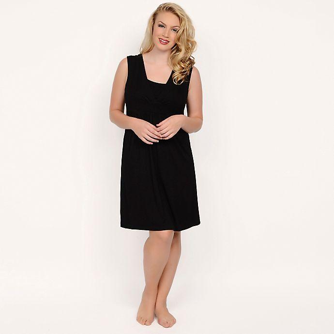 Alternate image 1 for Q-T Intimates Nursing Pajama Chemise in Black