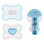 MAM Love & Affection Age 0-6 Months I Love Mommy Pacifiers and Clip Set in Blue